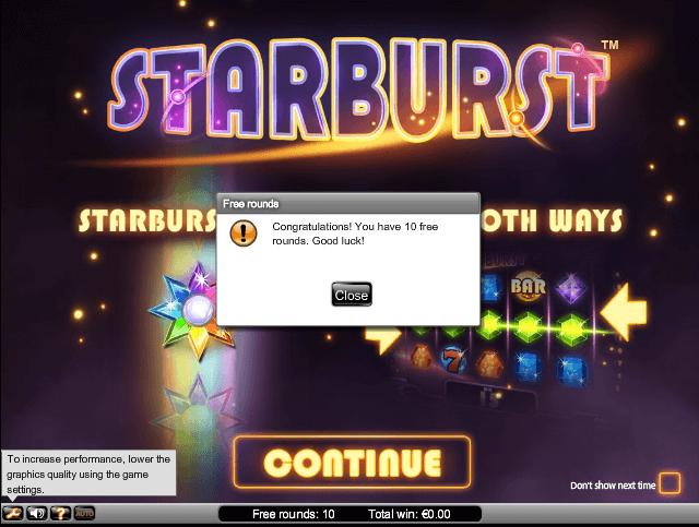 10 Free Spins on Starburst