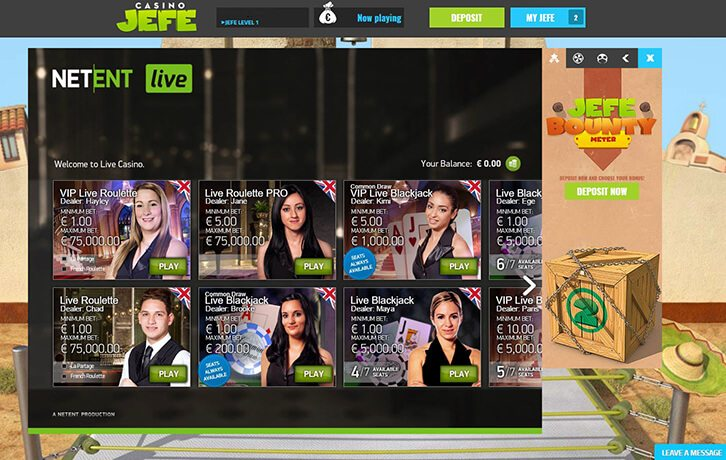 Play Roulette and Blackjack at Casinojefe Live Casino