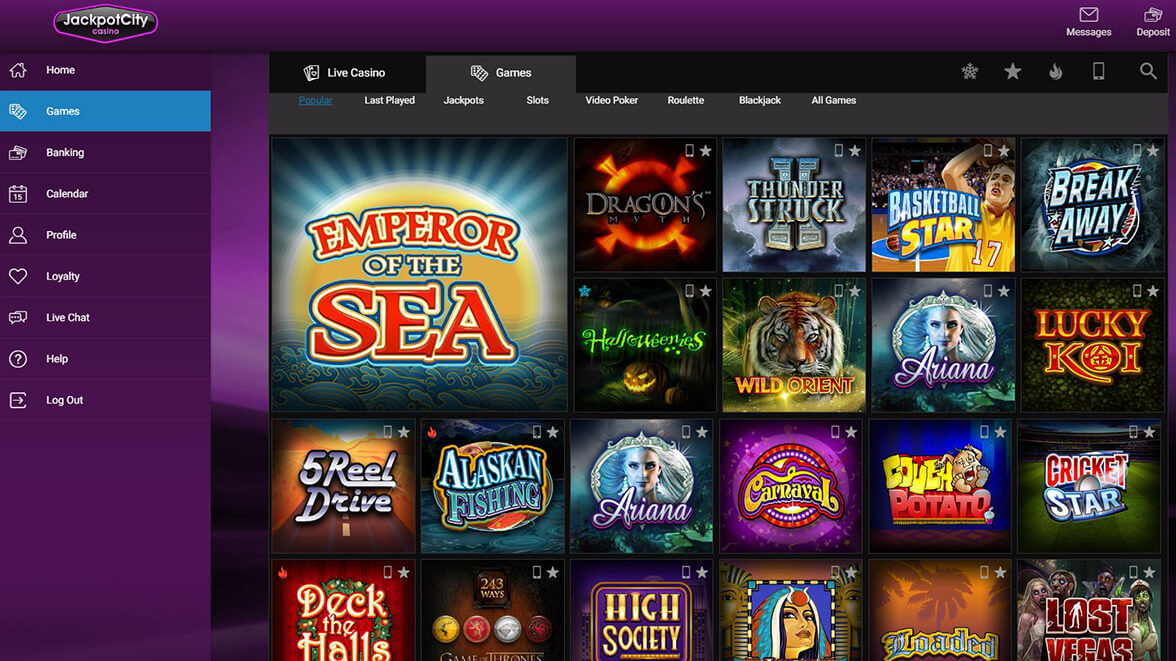 Jackpotcity is an excellent online casino for highrollers