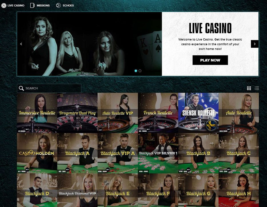 Play Live Casino Games from Netent and Evolution