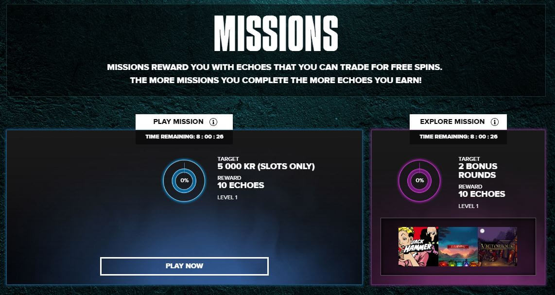 """Complete Missions to receive """"Echoes"""" which you can exchange for various rewards"""