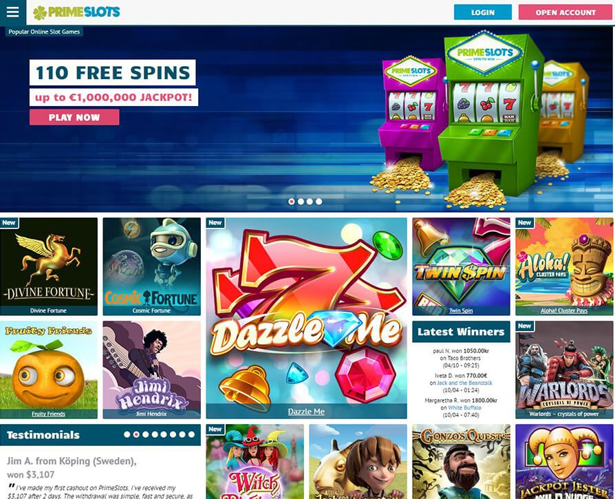 Prime Slots provide games from some of the more rare game providers such as Amaya and Cryptologic