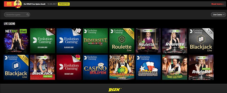Rizk Live Casino offer games from Netent and Evolution