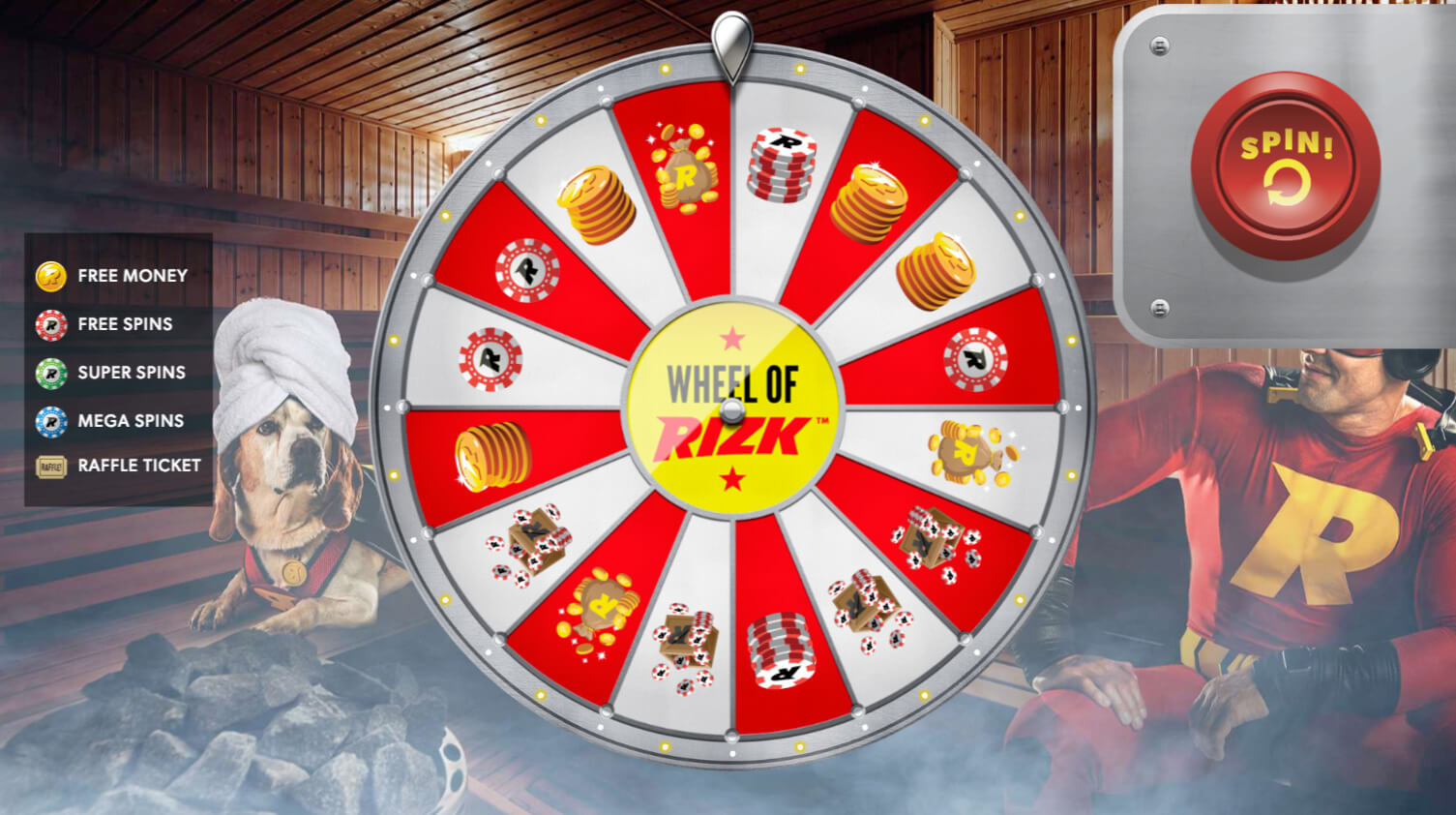 Spin the Rizk wheel for extra rewards when you level up