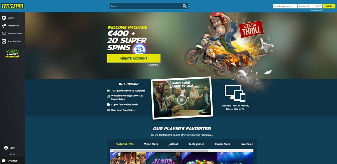Seek the thrill at Thrills Online Casino