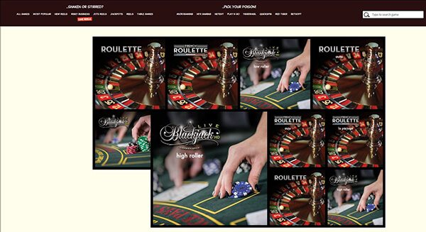 Joreels only offers Netent's Live Casino