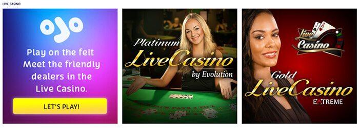 PlayOJO Live Casino offers Evolution and Extreme