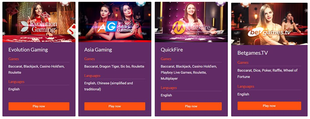 A great Live Casino with a huge selection of games