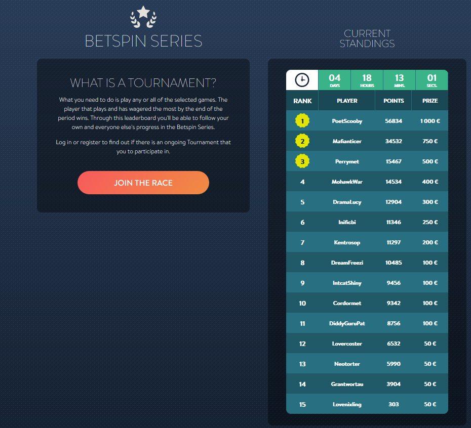 Betspin Series - Regular Casino Tournaments