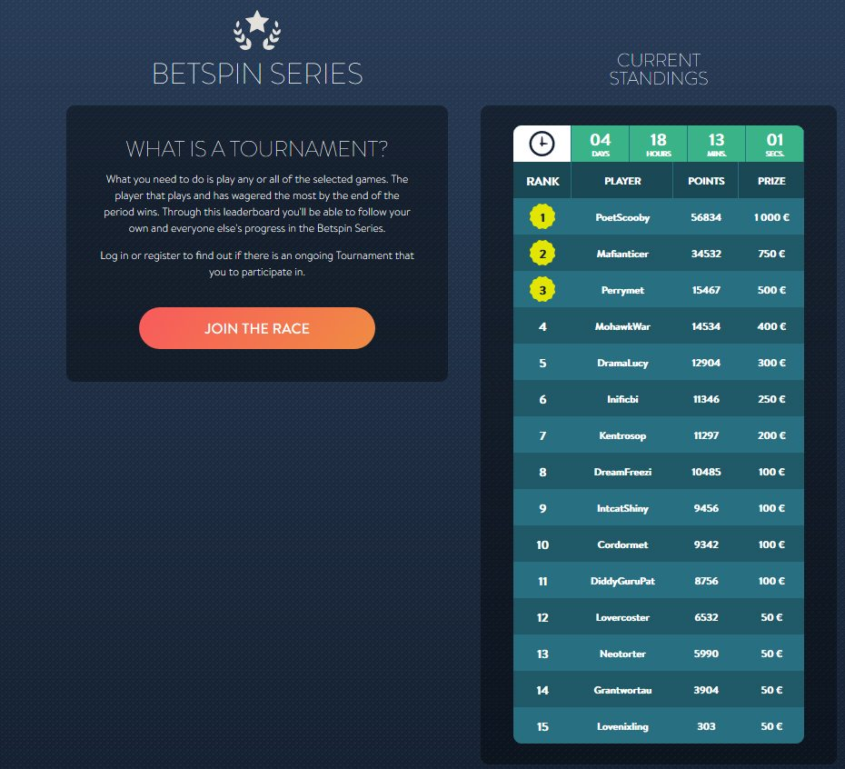 Betspin Series - Regular Casino Tournaments