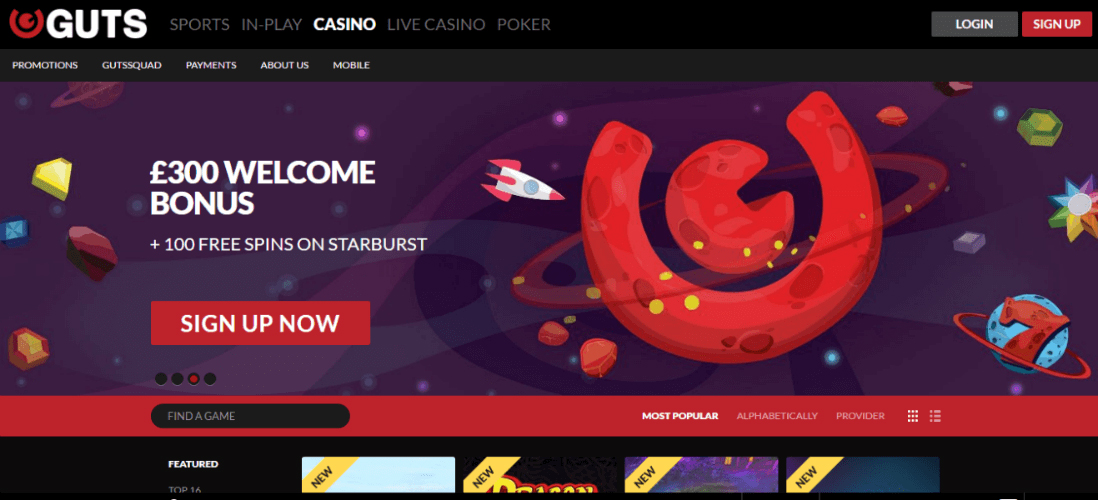 Play Casino, Sportsbook, Live Casino and Poker at GUTS