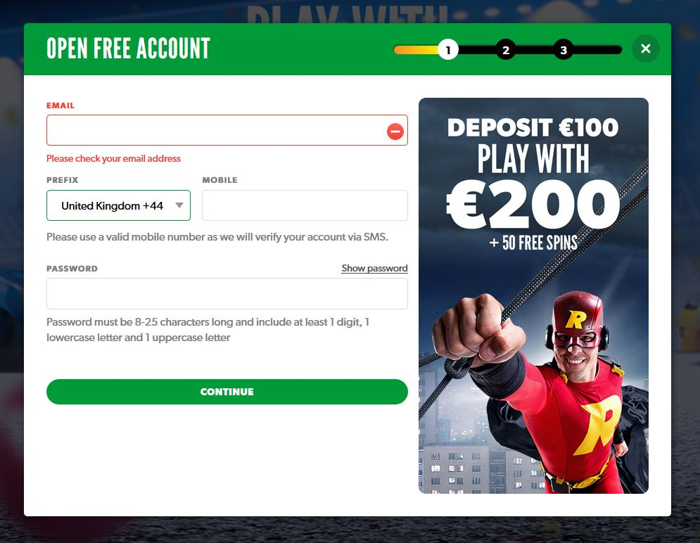 Signup at an online casino