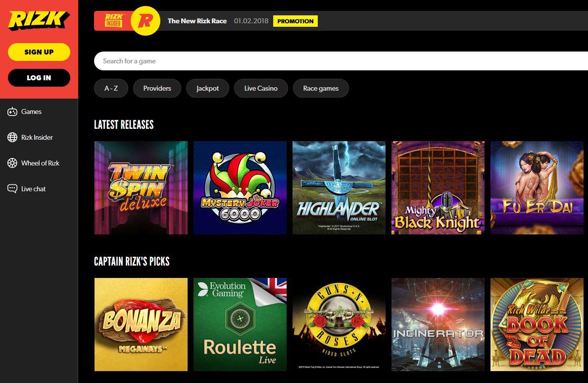 Rizk Casino - Real rewards - no bullshit