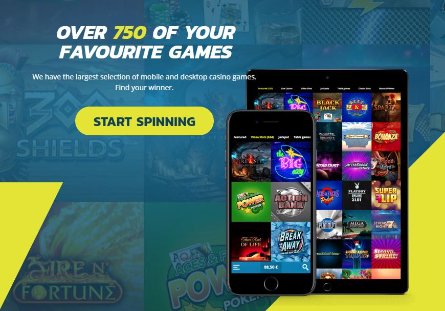 Thrills has over 750 casino games