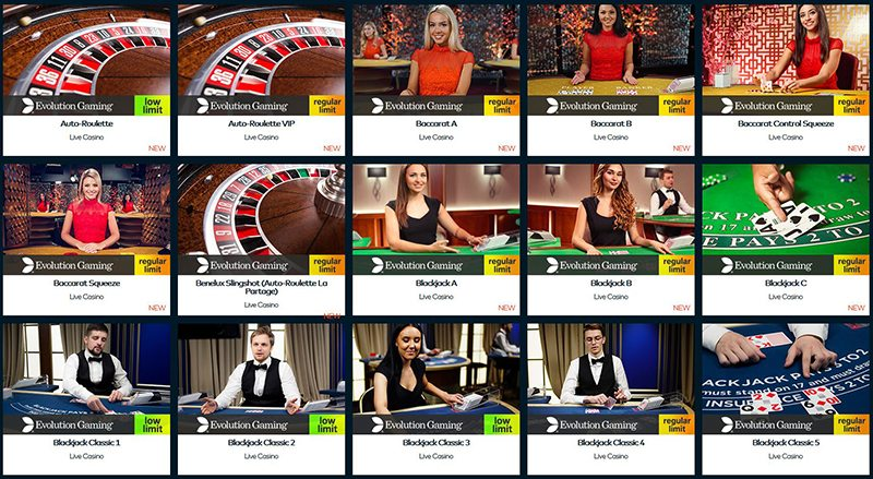 Funcasino only offer Live Casino games from Evolution Gaming